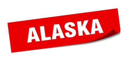 Alaska sticker. Alaska red square peeler sign
