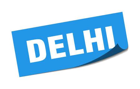 Delhi sticker. Delhi blue square peeler sign 일러스트