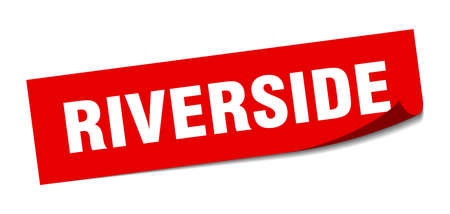 Riverside sticker. Riverside red square peeler sign