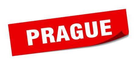 Prague sticker. Prague red square peeler sign 向量圖像