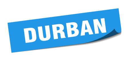 Durban sticker. Durban blue square peeler sign