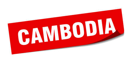 Cambodia sticker. Cambodia red square peeler sign Stok Fotoğraf - 134754233