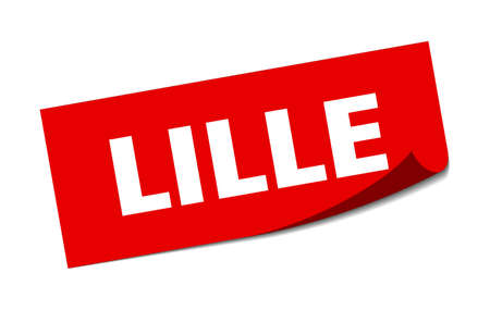 Lille sticker. Lille red square peeler sign Çizim