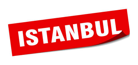 Istanbul sticker. Istanbul red square peeler sign
