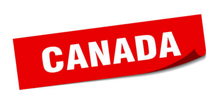Canada sticker. Canada red square peeler sign