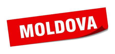 Moldova sticker. Moldova red square peeler sign