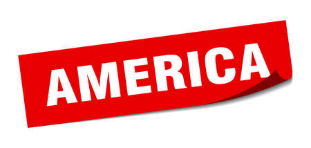 America sticker. America red square peeler sign Çizim
