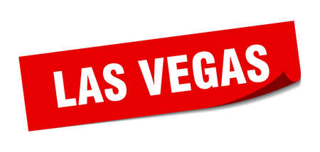 Las Vegas sticker. Las Vegas red square peeler sign Çizim