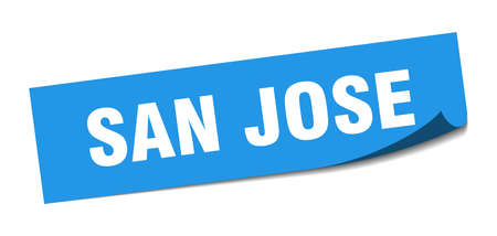 San Jose sticker. San Jose blue square peeler sign