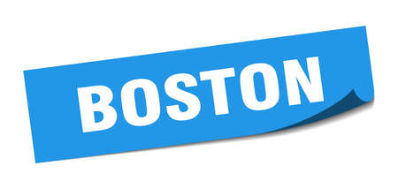 Boston sticker. Boston blue square peeler sign