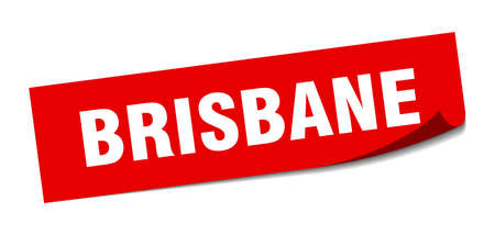 Brisbane sticker. Brisbane red square peeler sign