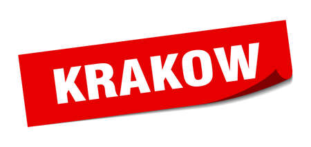 Krakow sticker. Krakow red square peeler sign