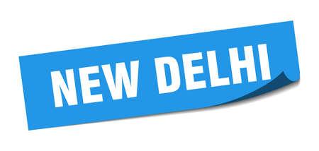 New Delhi sticker. New Delhi blue square peeler sign