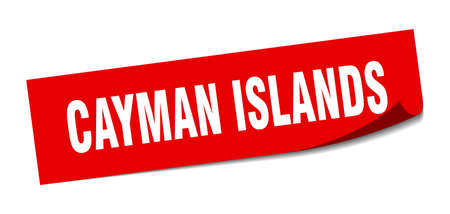 Cayman Islands sticker. Cayman Islands red square peeler sign