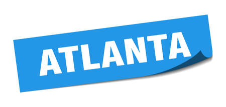 Atlanta sticker. Atlanta blue square peeler sign
