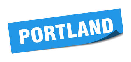 Portland sticker. Portland blue square peeler sign