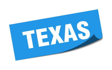 Texas sticker. Texas blue square peeler sign