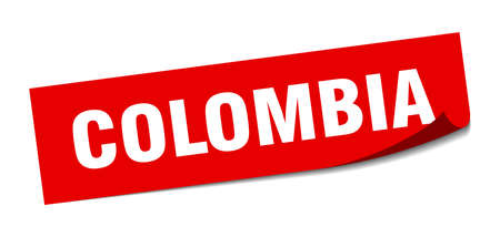 Colombia sticker. Colombia red square peeler sign