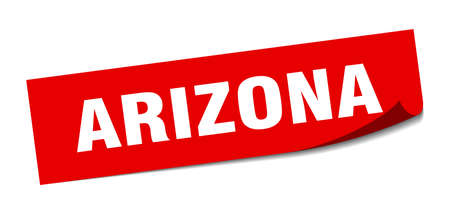 Arizona sticker. Arizona red square peeler sign