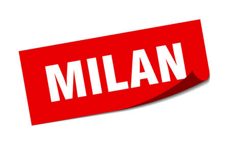 Milan sticker. Milan red square peeler sign Stok Fotoğraf - 134754293