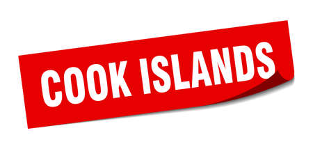 Cook Islands sticker. Cook Islands red square peeler sign