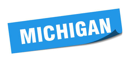 Michigan sticker. Michigan blue square peeler sign Çizim