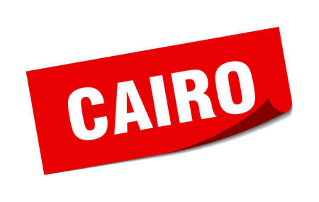 Cairo sticker. Cairo red square peeler sign