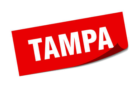 Tampa sticker. Tampa red square peeler sign