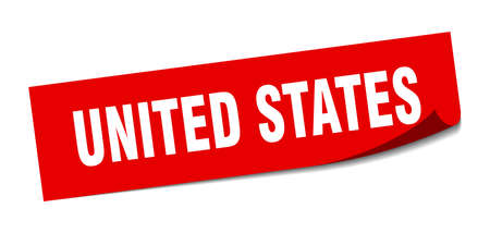 United States sticker. United States red square peeler sign