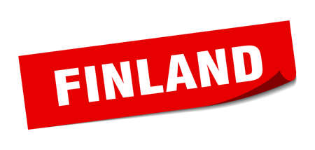 Finland sticker. Finland red square peeler sign Çizim