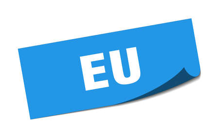 eu sticker. eu blue square peeler sign