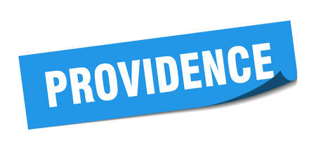 Providence sticker. Providence blue square peeler sign Çizim