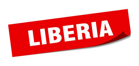 Liberia sticker. Liberia red square peeler sign Stok Fotoğraf - 134754311