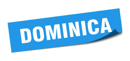 Dominica sticker. Dominica blue square peeler sign