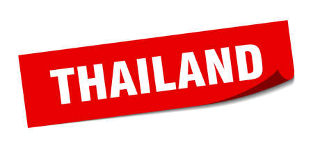Thailand sticker. Thailand red square peeler sign