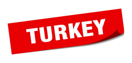 Turkey sticker. Turkey red square peeler sign