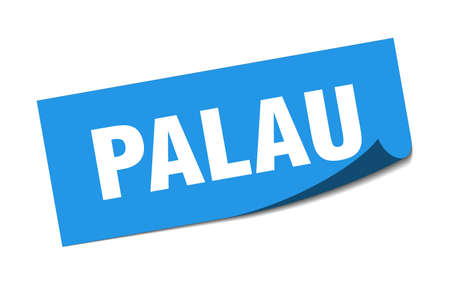 Palau sticker. Palau blue square peeler sign