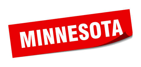 Minnesota sticker. Minnesota red square peeler sign