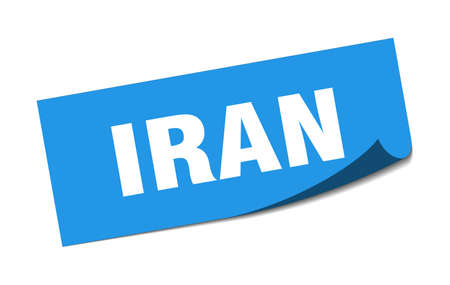 Iran sticker. Iran blue square peeler sign Çizim