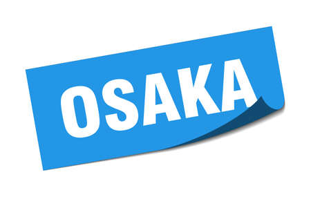 Osaka sticker. Osaka blue square peeler sign