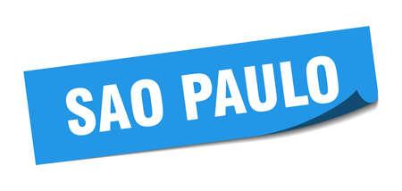 Sao Paulo sticker. Sao Paulo blue square peeler sign Stok Fotoğraf - 134754332