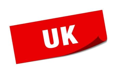 uk sticker. uk red square peeler sign