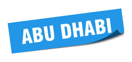Abu Dhabi sticker. Abu Dhabi blue square peeler sign