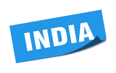India sticker. India blue square peeler sign