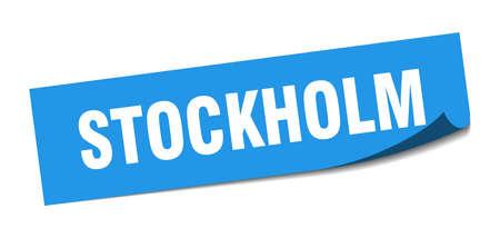 Stockholm sticker. Stockholm blue square peeler sign Stok Fotoğraf - 134754340