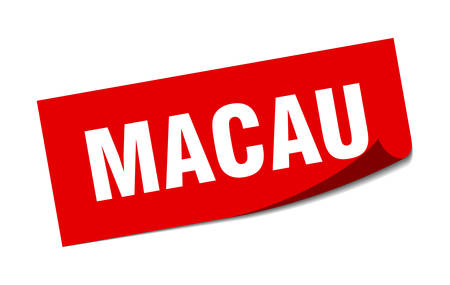 Macau sticker. Macau red square peeler sign