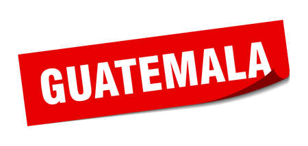 Guatemala sticker. Guatemala red square peeler sign Stok Fotoğraf - 134754347