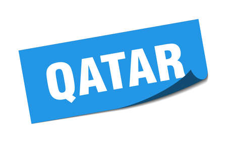 Qatar sticker. Qatar blue square peeler sign