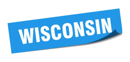 Wisconsin sticker. Wisconsin blue square peeler sign 向量圖像