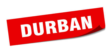 Durban sticker. Durban red square peeler sign